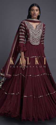Brick maroon anarkali suit in georgette with tiered silhouette. Bodice fabricated in cotton silk with abla, zari, resham and sequins embroidery. Indian Western Dress, Western Dresses, Indian Designer Outfits, Indian Outfits, Designer Dresses, Anita Dongre, Fashion Weeks, Anarkali Dress, Anarkali Suits