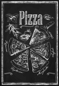 Kitchen Chalkboard-Chalkboard Pizza Types by TimelessMemoryPrints Blackboard Art, Kitchen Chalkboard, Chalkboard Lettering, Chalkboard Designs, Diy Chalkboard, Chalk Wall, Chalk Board, Types Of Pizza, Chalk It Up