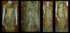 Floral print light green butter satin pallu with creamy coffee spun cotton pleats, with a gold sequin border.
