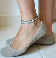 Hamsa anklet cord anklet with a silver plated by ShaniAndAdi, $12.00