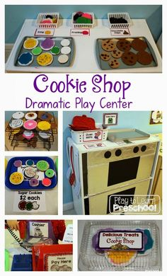 Cookie Shop Dramatic Play - Play to LearnYou can find Dramatic play and more on our website.Cookie Shop Dramatic Play - Play to Learn Dramatic Play Themes, Dramatic Play Area, Dramatic Play Centers, Preschool Dramatic Play, Preschool Centers, Preschool Activities, Family Activities, Preschool Class, Indoor Activities