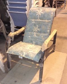 Sonata padded sling recliner shown with the fabric A44 Island Song Surf.