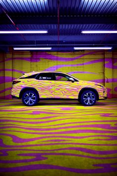 Forget the stars. Jeremy Scott had us seeing stripes when he debuted his space-cowgirl-inspired Fall 2016 collection for NYFW by wrapping 10 Lexus RXs in various prints. Lexus is a proud partner of NYFW: The Shows and MADE Fashion Week. Click through to learn more about the Lexus RX.