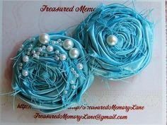 Turquoise headband Satin Pearl Photo prop by TreasuredMemoryLane, $15.95