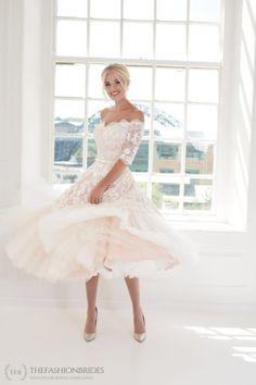 House of Mooshki 2020 Spring Bridal Collection – The FashionBrides Short Wedding Gowns, Tea Length Wedding Dress, Wedding Dresses For Sale, Colored Wedding Dresses, Bridal Gowns, Lace Wedding, Pink And White Weddings, Dress Images, Vintage Inspired Dresses