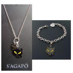SAGAPO happy sagapò COLLANA e BRACCIALE con gatto S AGAPò shac01 shac02 sha105