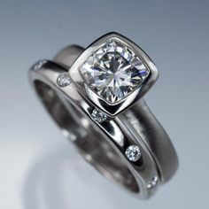 Bridal Set Cushion Moissanite Ring Bezel Engagement and Wedding Ring