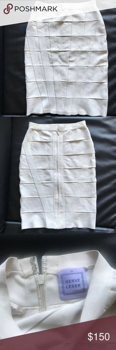 Herve Leger Nude bandage skirt Known for the quality.. this skirt is made with a strong stretchy material that is thick. Fits high-waisted- about 25 waist. Hit just above the knee like a pencil skirt. One of my favs! Herve Leger Skirts Pencil