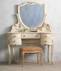Vintage Shabby French Louis XV Style Vanity. FrenchGardenHouse.com