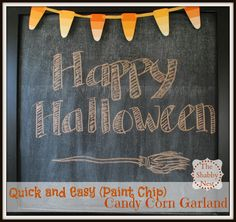 The Shabby Nest: Last Minute Halloween Craft: Paint Chip & Washi Tape Candy Corn Garland~