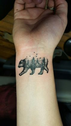 Tattoos by Roman at Black Cloud Tattoo Charlotte Black Grey 9802070323 bear silohouette forest mountains