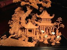 1940 Large Oriental Cork Carving in Glass Case | Collectors Weekly