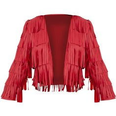 Lucy Red Faux Leather Fringed Crop Jacket ($79) ❤ liked on Polyvore featuring outerwear, jackets, fake leather jacket, vegan jackets, red faux leather jacket, faux-leather jacket and leather look jackets