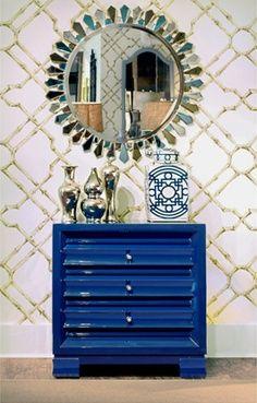Pantone Dazzling Blue. Cobalt blue lacquered dresser--image via Bear Hill Interiors