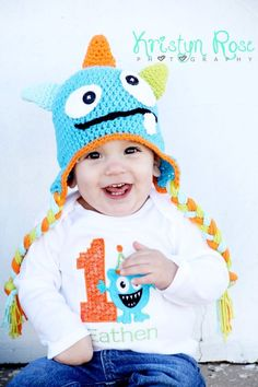 Crochet monster hat newborn halloween costume newborn photography prop toddler monster hat halloween monster hat by MRocheCrochet on Etsy https://www.etsy.com/listing/104484977/crochet-monster-hat-newborn-halloween