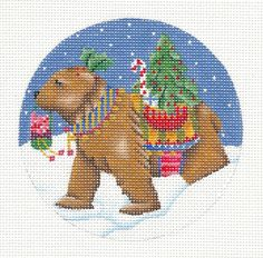 *FINAL ONE*  Elegant Brown Bear handpainted Needlepoint Ornament Melissa Shirley #MelissaShirleyDesigns