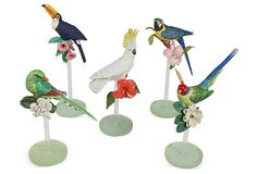 Tropical Birds on Lucite Bases, Set of 5