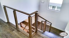 This design was created with an Ironwood Connection cable rail kit. This staircase uses marine grade stainless steel cable rail, and was installed with the inside to inside angle/rake and level/balcony kits. This install pairs the stainless cable with the 4000 series modern newel post. We offer parts, install services, and custom components throughout Texas. Click the image for more information.