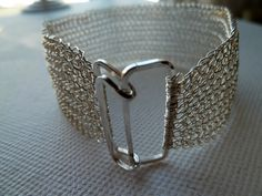Sterling Silver knitted cuff - made to order