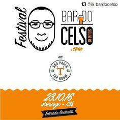 #Repost @bardocelso with @repostapp  Festival Cervejeiro do BARDOCELSO.COM no SÃO PAULO TAP HOUSE é neste domingo dia 23 de outubro!  A festa que comemora 10 ANOS de atividade de um dos blogs de cerveja mais antigos do país o BarDoCelso.com terá entrada GRÁTIS.  Entre as atrações da festa estão mais de 40 tipos de chopp brincadeiras cervejeiras música ao vivo e a participação especial acústica e roqueira com uma versão do show WorkChopp dos integrantes da banda VELHAS VIRGENS: Paulão Tuca e…