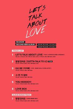 Let's Talk About Love track list! :D #Seungri