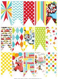 circus bunting,pennant flags,vintage paper bunting - Jilly Bean Kids