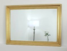 "Rebecca Gold Rectangle Vintage Wall Mirror 41"" x 29"" V Large"