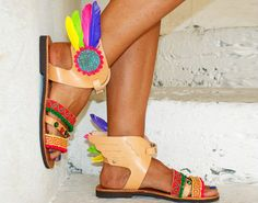 Greek leather sandals/ Handmade sandals/Gladiator by magosisters