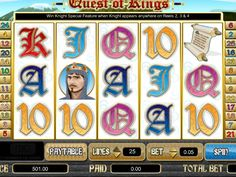 Quest of Kings - http://freeslots77.com/quest-of-kings/ - Quest of Kings is an online slot game that comes with a romantic twist. This slot machine from Amaya comprises of 5 reels and 25 paylines. Regular symbols of this fun casino game include sword and scroll. The princess is the wild symbol and can grant wins up to 8,000 coins. Rose acts as scatter...
