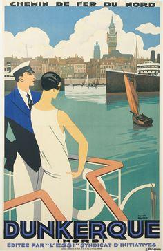 Dunkerque vintage travel poster imprimons