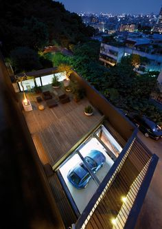 skylight garage with flat rooftop deck