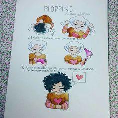 Plopping: Arte linda de Daniela Lisboa! Cabelos cacheados ficam mais definidos com essa técnica de secagem. #curlyGirls #cacheadas