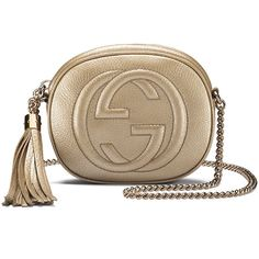 Gucci Soho Metallic Leather Mini Chain Bag (5.790 HRK) ❤ liked on Polyvore featuring bags, handbags, shoulder bags, gold, chain strap purse, leather shoulder bag, metallic leather handbags, gucci purses and brown leather purse