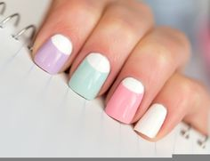 Top 10 Nail Polish Trends in 2015 image in what is new fashion category - pastel blue pink and purple with white, reverse french manicure