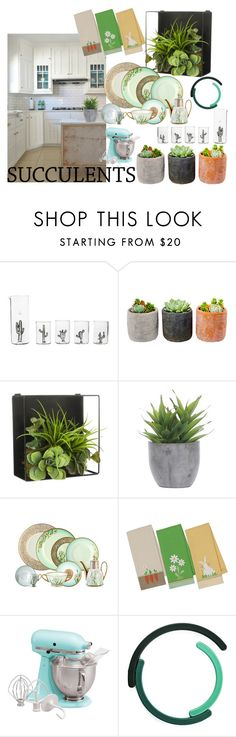 """""""Succulent Kitchen"""" by pampire ❤ liked on Polyvore featuring interior, interiors, interior design, home, home decor, interior decorating, Casarialto, Shop Succulents, Threshold and Lux-Art Silks"""