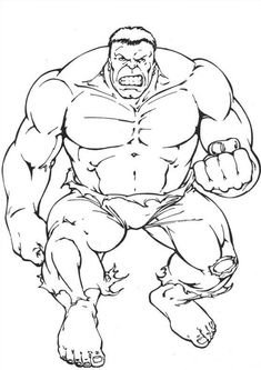 Hulk Coloring Pages. The Hulk is a green superhero who appears in American comics published by Marvel Comics. Get The Hulk coloring pictures here and also get h Hulk Coloring Pages, Superhero Coloring Pages, Spiderman Coloring, Marvel Coloring, Coloring Pages For Boys, Coloring Pages To Print, Free Coloring Pages, Adult Coloring, Coloring Books