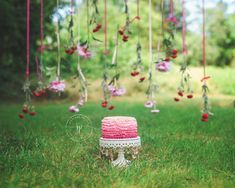 Outdoor Pink Floral Cake Smash || Boston Child Photographer — Jennifer Prisco Photography