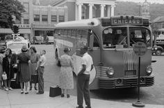 Taking the bus in Lewistown, PA, 1940.