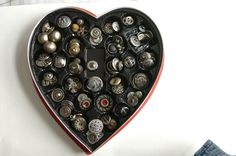Button heart. A cute twist on a traditional Valentine's Day gift!