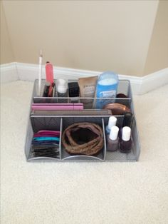 Desk organizer for hair accessories and make up. Perfect for college dorm