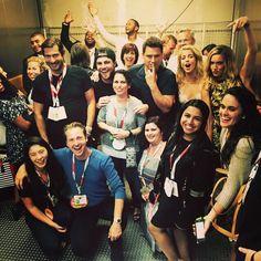 Happy folks in elevator heading to #Arrow panel #CWSDCC #SDCC @amellywood @Team_Barrowman @david_ramsey @EmilyBett