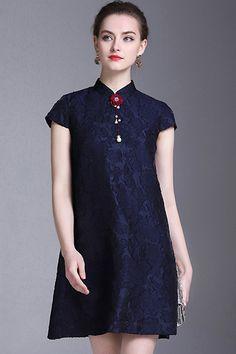 e77942488b26de Vintage Simple Pure Color Button Lace Shift Dress