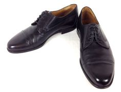 BALLY-Shoes-LEATHER-Black-ITALY-Lace-Up-VINTAGE-Switzerland-OXFORD-Cap-Toe-9-5-D