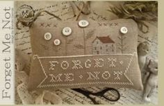 Forget Me Not is the title of this cross stitch pattern from With Thy Needle and Thread that is stitched with Weeks Dye Works