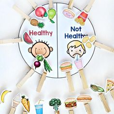 Printable Food and Nutrition Activities for Preschoolers Healthy vs. Not Health Sort - 1 of 6 printable nutrition activities for preschoolersHealthy vs. Not Health Sort - 1 of 6 printable nutrition activities for preschoolers Food Activities For Toddlers, Preschool Food, Nutrition Activities, Preschool Activities, Healthy Crafts For Preschool, Educational Activities, Activites For Preschoolers, Food Groups For Kids, Food Games For Kids