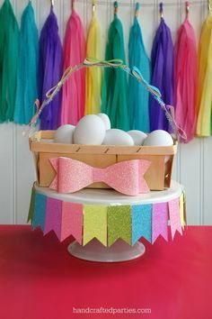 flag garland template | Glitter flag punch garland taped around cake stand // glitter bow ...
