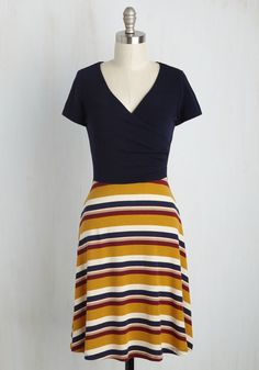 Botanical Breakfast A-Line Dress in Throwback Stripes - Blue, Yellow, Stripes, Print, Casual, A-line, Twofer, Short Sleeves, Fall, Knit, Good, Variation, Mid-length, Mod