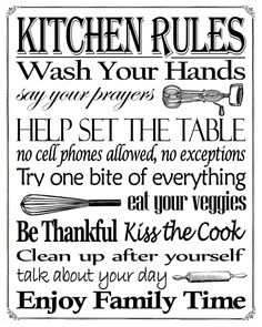 "Free Printable ""Kitchen Rules"" 8"" x 10"" Sign"