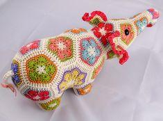 Ravelry: Nellie the Elephant African Flower Crochet Pattern pattern by Heidi Bears.