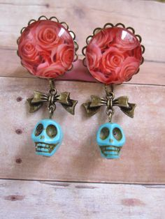 "Pair of Rose Art Plugs with Bows and Turquoise Skull Bead Danglies - Girly Gauges - 6g, 4g, 2g, 0g, 00g, 7/16"", 1/2"", 9/16"", 5/8"", 3/4"" on Etsy, $25.00"